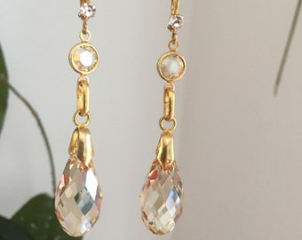 Swarovski crystals earrings Briolette pendant with ch golden shadow