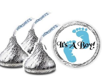108 It's A Boy Blue Baby Footprints Baby Shower Hershey Kiss Candy Label Wrapper Favors Stickers