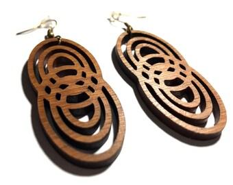 Bamboo earrings laser cut / Free shipping worldwide / Wooden jewelry