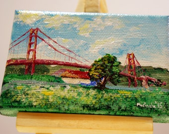 "Golden Gate Bridge from Crissy Field by marinelaArt - Acrylic Fine Art on 2.5"" x 3.5"" Large Canvas Paintings"