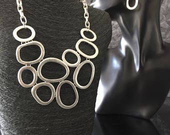 statement jewelry silver collar necklace hammered silver necklace metal jewelry silver statement necklace large link necklace silver earring