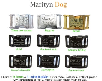 Personalized laser engraved black plastic, gold metal, aluminume silver metal buckle for dog collar or dog harness Dog ID tag collar buckle