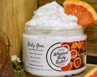 Whipped Body Butter | Organic Body Creme | Skin Moisturizing | Firming Anti-Cellulite | Shea /Mango Butter | Grapefruit E.O | 8oz & 12oz