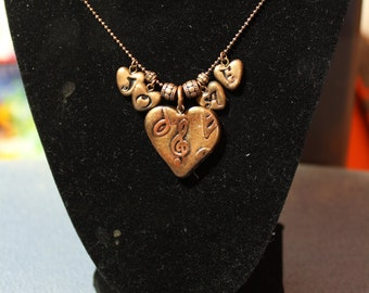 Music to My Heart Personalized Polymer Clay Necklace with Initial Heart Charms