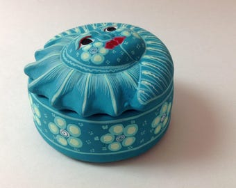 Mexican Hand Painted Pottery Sun, Moon, Trinket Box, Aqua Blue, Turquoise Folk Art Eclipse Jewelry Box, Made In Mexico