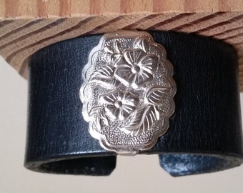 "SMALL LEATHER BRACELET with Wild Rose Concho. Womens Black Leather Cuff with Silver Floral Concho. For 6-1/4"" Wrist. Cowgirl Leather Cuff."