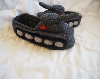 Tank Slippers Gift for Men Panzer tank Slipper Crochet tank slipper Hand Knit Slippers Funny Shoes Gifts for husband