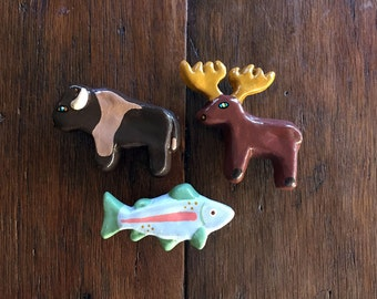 Knobs, trout moose buffalo drawer knobs