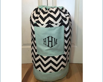 Teal, Black & White Chevron Monogrammed Laundry Duffel Bag, Missionary Laundry Bag, College Laundry Bag, Hanging Laundry Bag, Laundry Hamper