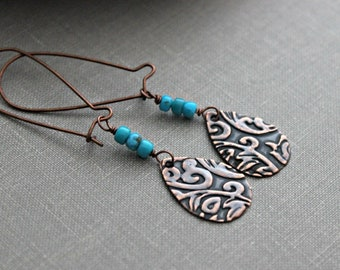 Copper and Turquoise earrings -  antiqued copper patterned teardrops with genuine turquoise gemstones - Bohemian style - Western jewelry