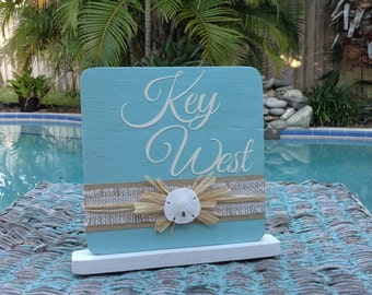 Seashell and wood table number- Ocean mist blue with burlap and seashell accents-Beach wedding decor