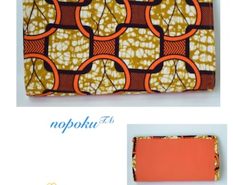 Orange leather purse, Bags and Purses, African Print Purse,Leather bag, Ankara clutch, Evening Clutch, Handmade Bag, Kitenge Purse, Clutches