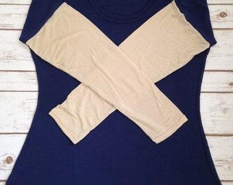 Medium Lovely Layering Sweater, Navy with Khaki Sleeves