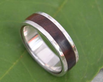 Size 10.5, 7mm Ready to Ship - Hammered Lados Nacascolo Wood Ring - recycled sterling silver and sustainable wood wedding band