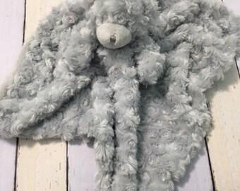 Baby blanket, baby Animal lovie,bear blankey, embroidered lovie, baby shower gift, monogram baby gift, monogram baby monogram blankie,