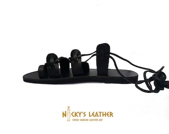 BLACK GLADIATOR Sandals - BLACK Leather Sandals from 100%  Full Grain Leather