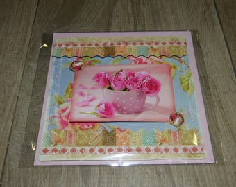 CARD EMBOSSED WITH ROSES