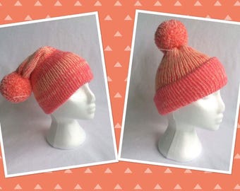 Peachy Pink Slouchie Bobble Hat