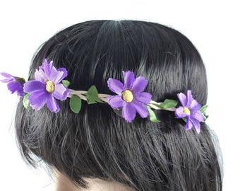 Wedding - purple flower Crown headband