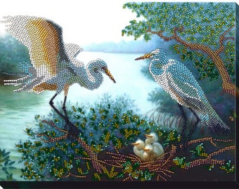"DIY Bead embroidery kit ""Herons"",  beaded stitching, room wall decor, housewarming gift idea craft set, FREE Shipping"