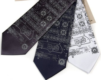 "Apollo Cockpit men's necktie. Narrow or standard width 100% SILK. ""Rocket Science"" tie. Silkscreened dove gray print."