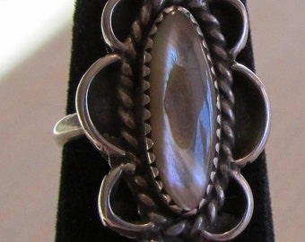 Sterling silver and Abalone Shell Ring Size 5 1/4