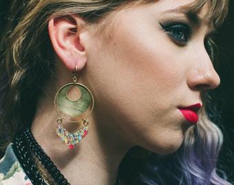 Statement Hoop Earrings - Chevron Earrings - Geometric Jewelry - Jasper Earrings - Colorful Earrings - Brass Jewelry - Rocker Earrings -