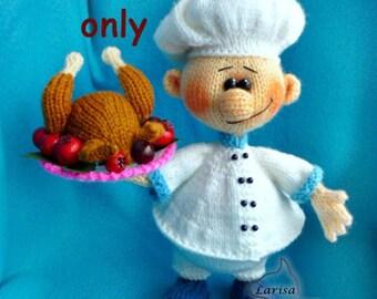 Knitting pattern - Cook amigurumi doll