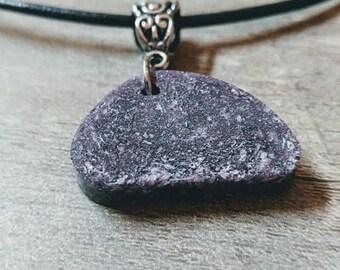 Purple Stone Necklace, Boho necklace, Unique, Faux Stone, Silver Sparkle Necklace