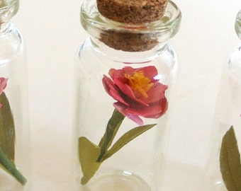 paper flower sculpture in jar tiny pink peony gift