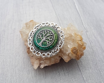 Tree of Life Brooch // Silver and Green Glitter Brooch // Tree of Life Pin // Handmade // Gifts for Her