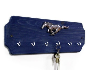 Ford Mustang Key Rack - Blue or Black Wood Key Hook - Wall Key Holder - Automotive Rack - Car Key Rack