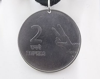 Peace Sign Coin Necklace, India 2 Rupees, Mens Necklace, Womens Necklace, Coin Pendant, Leather Cord, Birth Year, 2008