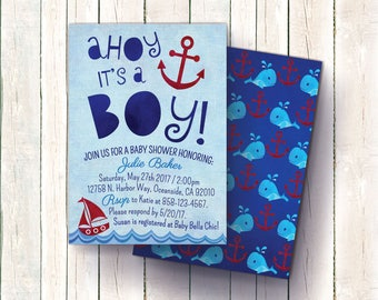 """Nautical Baby Shower Invitation (Boy) """"Ahoy it's a Boy!"""" Invitation, Anchor and Whale / Sailor Baby Shower, Nautical Invites"""