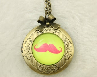 Mustache Necklace, Mustache locket, hippie jewelry, 2020m