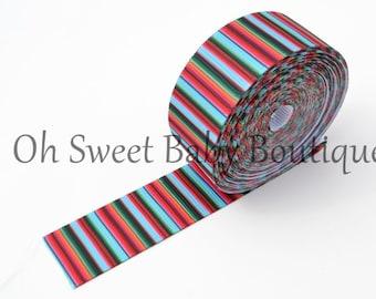 """Tuquoise Serape Zarape Mexican Blanket 7/8"""" Grosgrain US Designer Ribbon"""