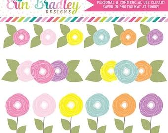 80% OFF SALE Digital Clipart Flower Doodles Clip Art Personal & Commercial Use