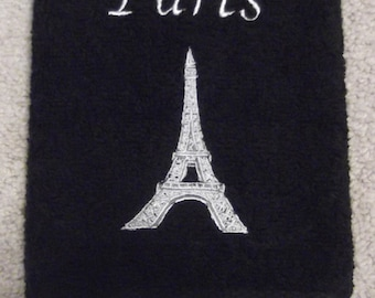 Embroidered ~PARIS EIFFEL TOWER~ Black Bathroom Hand Towel