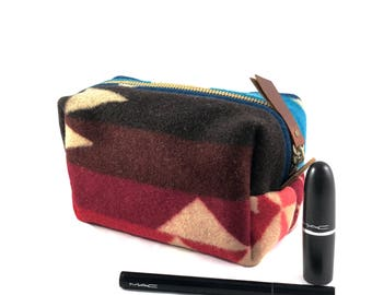 READY TO SHIP: Small Toiletry Bag from Tribal Blanket (Blues & Reds) with Leather