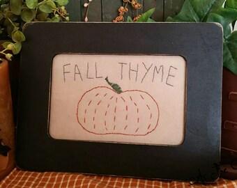 Fall Thyme Pumpkin Stitchery Framed - Primitive Folk Art - Fall decor - Autumn - As the Crow Flies - Free shipping