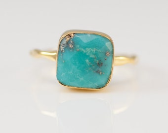 Turquoise Ring Gold, December Birthstone Ring, Gemstone Ring, Solitaire Ring, Silver Ring, Stacking Ring, Statement Ring, Boho Jewelry