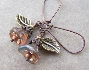 Blooming - Spring Rainbow Glass Trumpet Flowers Leaves Copper Earthy Organic Wedding Etsy Earrings Under 20