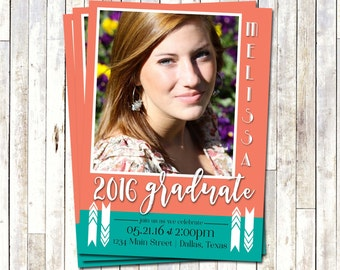 GRADUATION PARTY INVITE , Digital-Printable, Coral & Teal