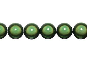 Magical 16mm - moss green round beads 4 x