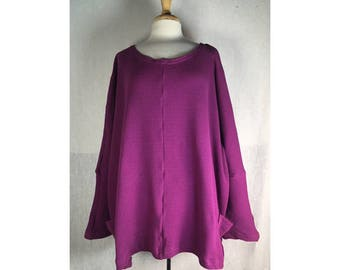 Mantle Tunic - Beet Waffle Thermal  Misses OSFA  Ready to Ship by Blue Fish Red Moon Clothing Winter Warmth