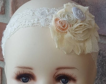 Antique White Lace Headband / Lace Barefoot Sandals / Stretch Lace Baby Accessories