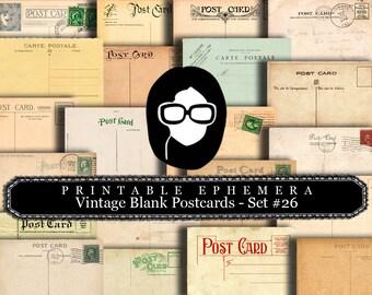 Ephemera Pack - Vintage Blank Post Cards Set #26 - 16 Page Instant Download - junk journal kit, postcard template, ephemera paper pack