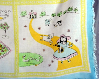 Vintage Mary Had a Little Lamb Scarf - Rayon with a Fringed Edge