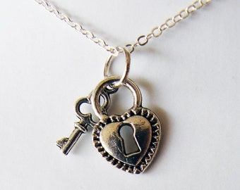 Heart and Key Lock Necklace  (R5B)