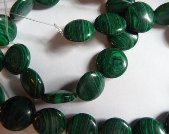 Bead, Malachite, Gemstone, Round Coin, 12mm, Pack Of 10 beads.